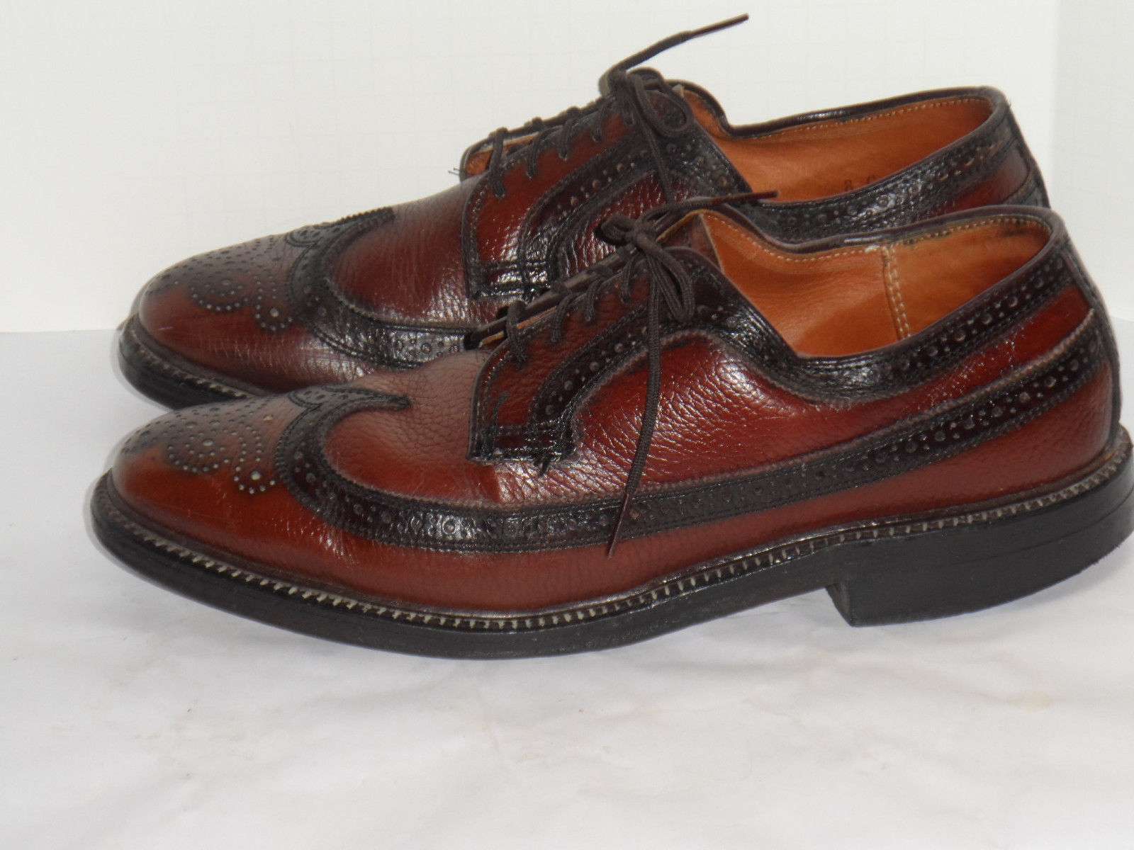Vintage Dexter Men S V Cleat Longwing Wingtip Brown Dress