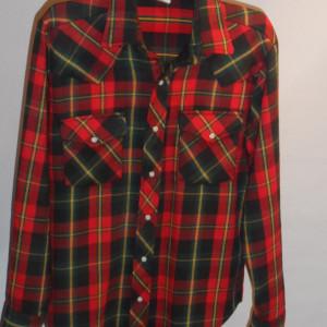 Vintage 1960s Sears Plaid Western Cowboy Shirt
