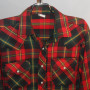 Vintage 1960s Sears Plaid Western Cowboy Shirt front close up view