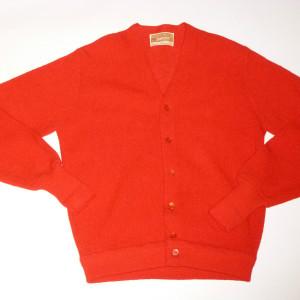 New Vintage 1960s Jantzen Bright Red Wool Cardigan Sweater